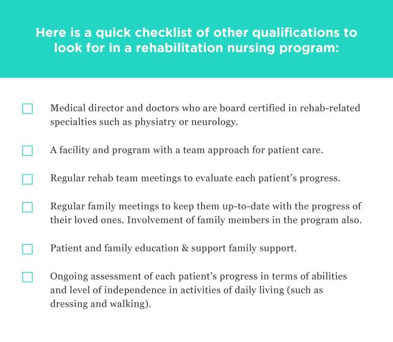 Nuring rehabilitation checklist