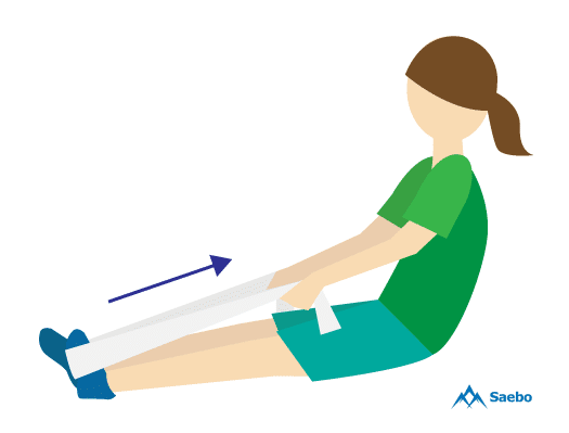 Sit On The Floor With Both Legs Straight Out In Front Of You. Loop A Towel  Or Exercise Band Around The Affected Foot And Hold Onto The Ends With Your  Hands.