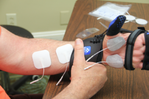 electrodes and SaeboGlove placement