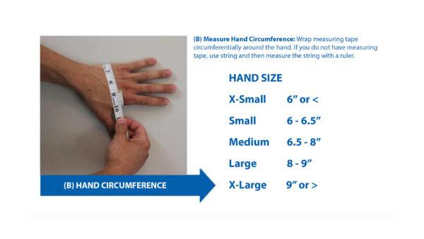 ElectroMesh Glove Hand Size Chart